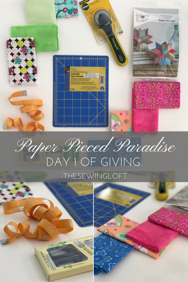 It's the 12 Days of Giving at The Sewing Loft and the Paper Pieced Paradise gift basket is filled with tons of goodies to start your next project. Enter today.