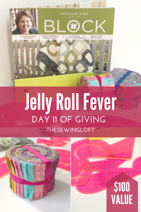 I've been bitten by the jelly roll fever bug! This box of goodies can arrive in your mail box. Giveaway is packed with sewing inspiration. Be sure to see all of the prize packages being offered during The Sewing Loft's 12 Days of Giving. Over $1200 in prizes.