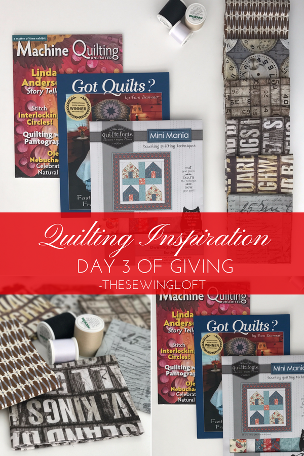 'Tis the season and it is better to give than recieve. Today's giveaway gift is packed with quilt inspiration. Be sure to see all of the prize packages being offered during The Sewing Loft's 12 Days of Giving. Over $1200 in prizes.