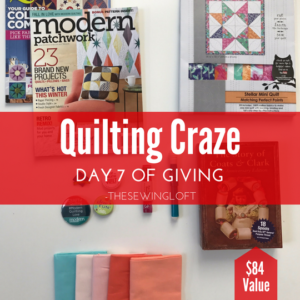 Join the quilting craze with this new box of goodies. This giveaway is packed with quilting inspiration. Be sure to see all of the prize packages being offered during The Sewing Loft's 12 Days of Giving. Over $1200 in prizes.