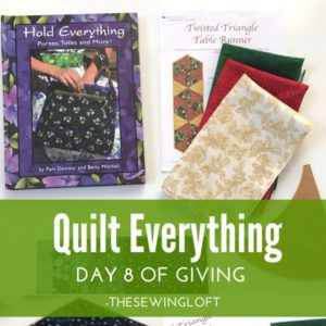 You can quilt everything including handbags. Learn how with this box of goodies. Giveaway is packed with sewing inspiration. Be sure to see all of the prize packages being offered during The Sewing Loft's 12 Days of Giving. Over $1200 in prizes.