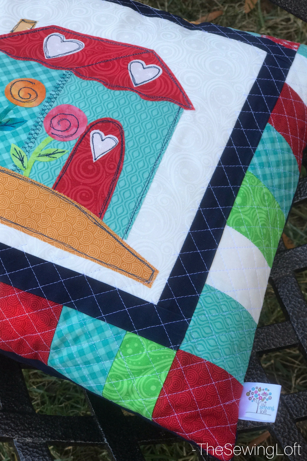 The laser guide beam on my machine made it so easy to quilt this pillow project.