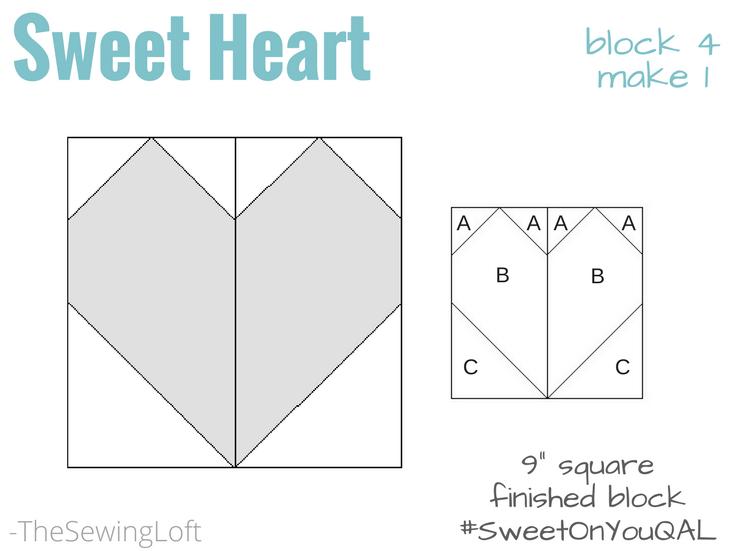 "Sweet Heart Block | 9"" Free Quilt Block #SweetOnYouQAL"
