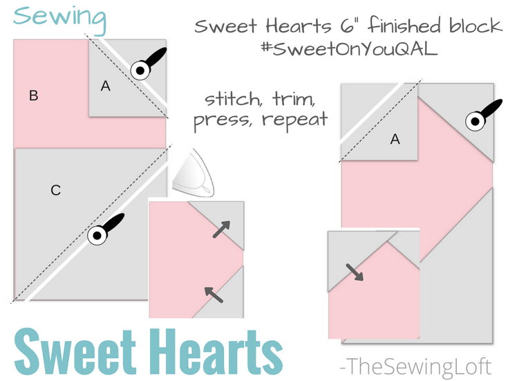 Sweet Hearts Block Sewing Instructions The Sewing Loft