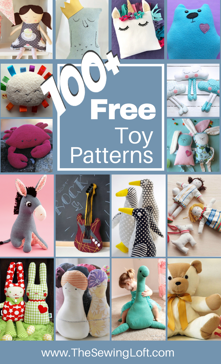 100+ Stuffed Toy DIY free patterns! Most of these patterns are easy to sew