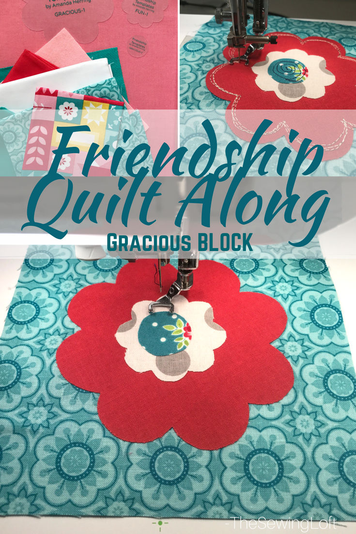 The Friendship Quilt Along is perfectly designed for free motion drawing! Today, I am sharing the Gracious quilt block. Come sew with us. Pattern by Amanda Herring.