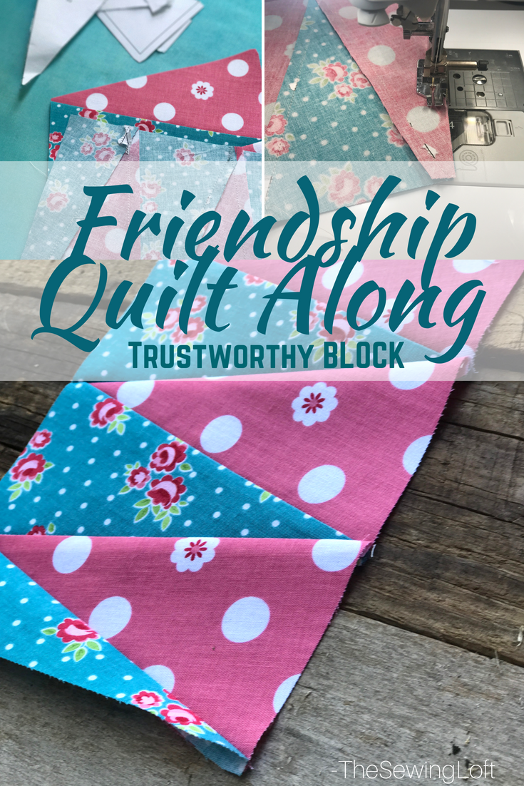 It's time for the next block in the Friendship Quilt Along and I'm sharing the Trustworthy quilt block. Come sew with us. Pattern by Amanda Herring.