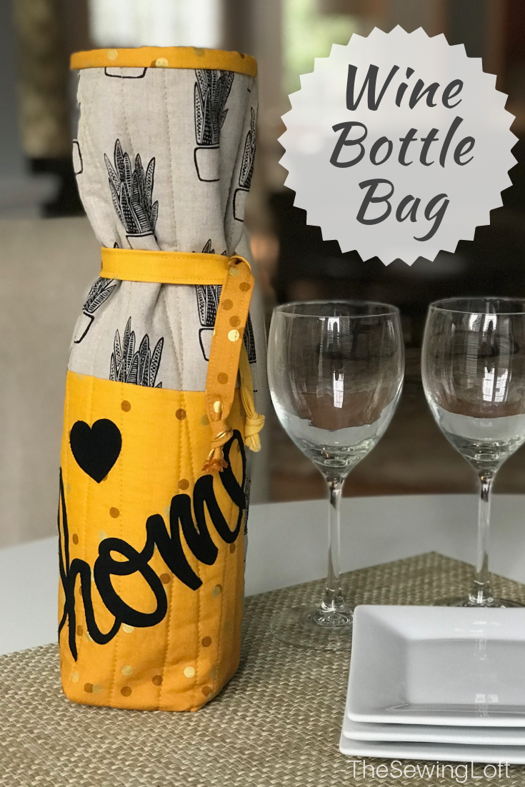 Turn that hostess gift from drab to fab! Wrap it up in this easy to make wine bottle bag.