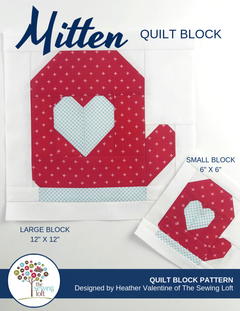 Beat the winter blues with this Mitten Quilt Block. Block comes in 2 sizes and can be used in so many different projects. From home decor to quilts.
