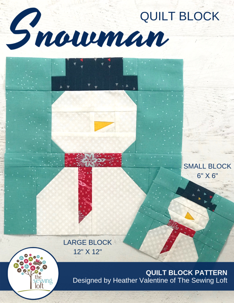 Keep warm this winter with a Snowman Quilt Block. Block comes in 2 sizes and can be used in many different projects from home decor to quilts.#Block2Quilts