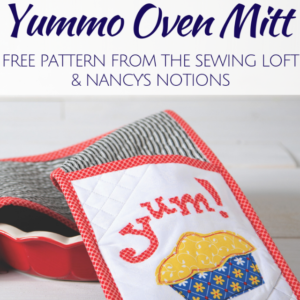 Stretch your sewing skills with this free Yummo Oven Mitt pattern. Pattern includes: full instructions, applique template and binding tips.