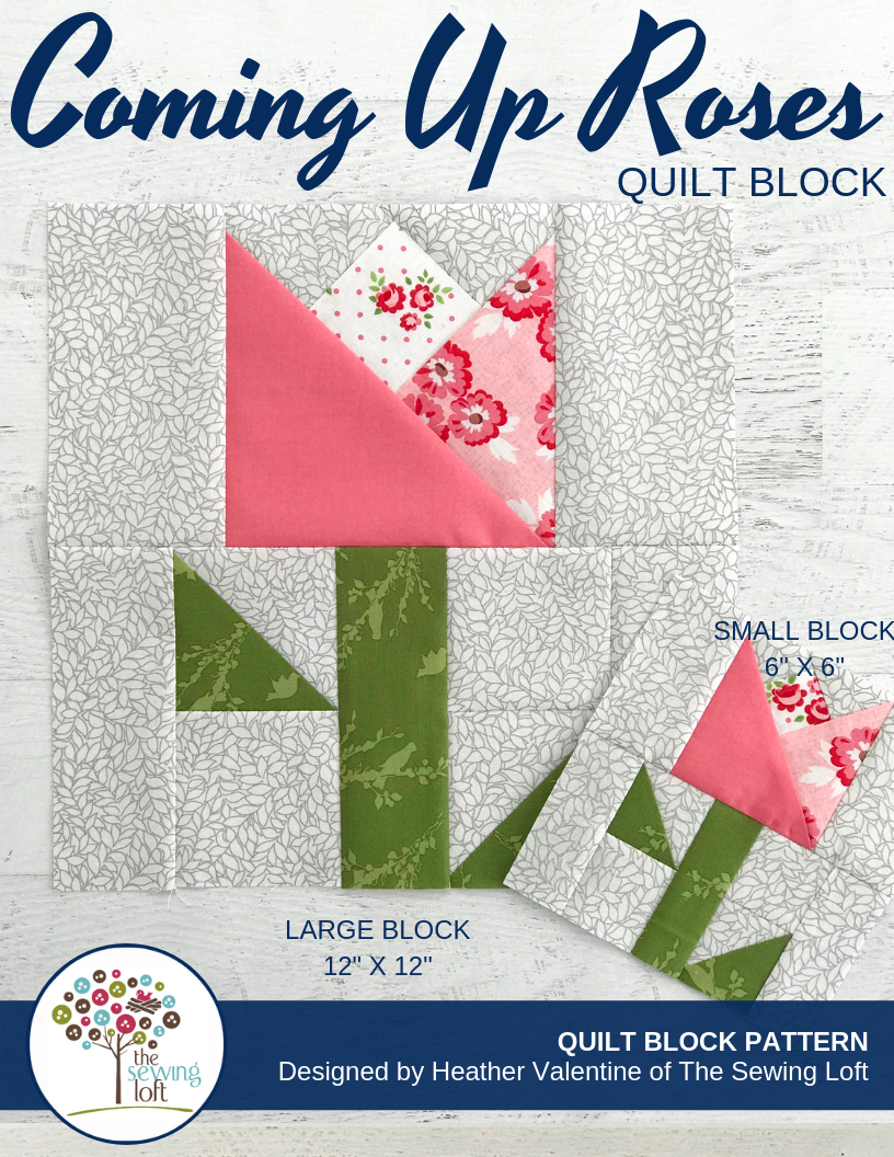 Flower Patchwork Quilt Block Pattern | Coming Up Roses by The Sewing Loft