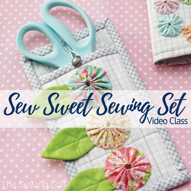 Every quilter should have at least one of these delightful sets! This Sew Sweet Sewing Set pattern includes a pincushion, needle book and scissors holder which are embellished with colorful yo-yos. Join quilting and sewing expert Heather Valentine to make the scissors holder in this Learn, Make, Create! episode.