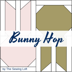 Start your spring sewing early with this adorable patchwork quilt block. The bunny hop block comes in two sizes and is easy to make.