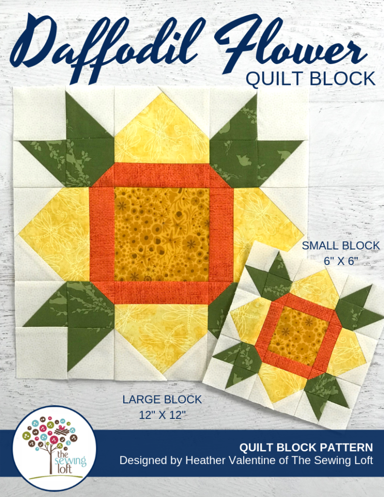 Daffodil Flower Quilt Block | Patchwork design, easy to make.