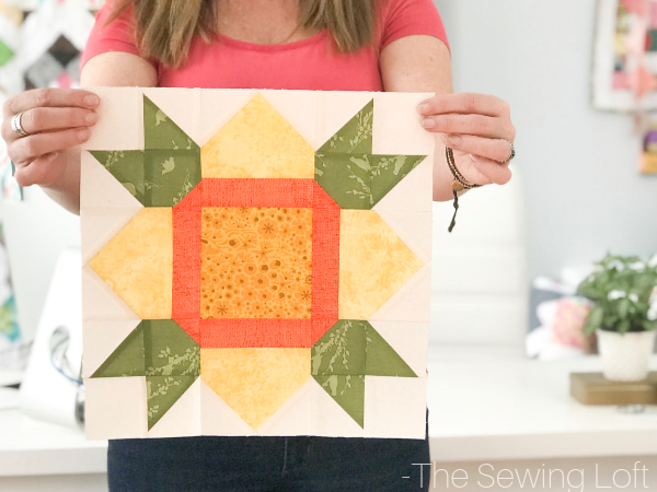 Daffodil Flower quilt block available in 2 sizes. This simple patchwork block is easy to make and perfect for the beginner.