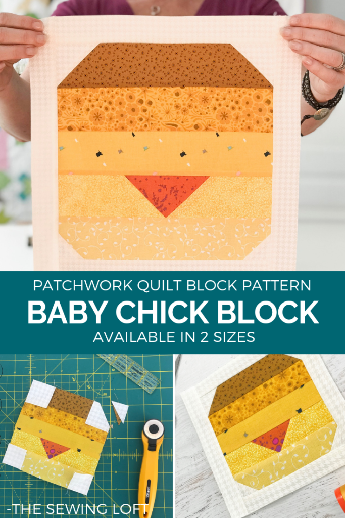 The Baby Chicks Quilt Block is perfect for spring! It comes in 2 sizes and can be used in many different projects from home decor to quilts.#Block2Quilts