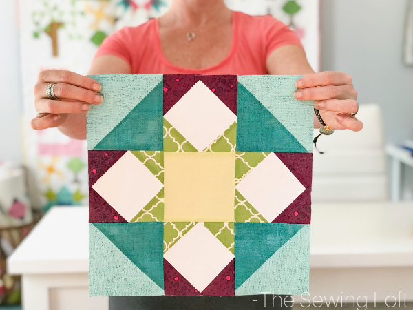 The Spring Burst Quilt Block is perfect for the confident beginner! It comes in 2 sizes, features HST's and flying geese. Perfect for your next project.