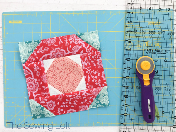 Blushing Glory Quilt Block Trimming | The Sewing Loft