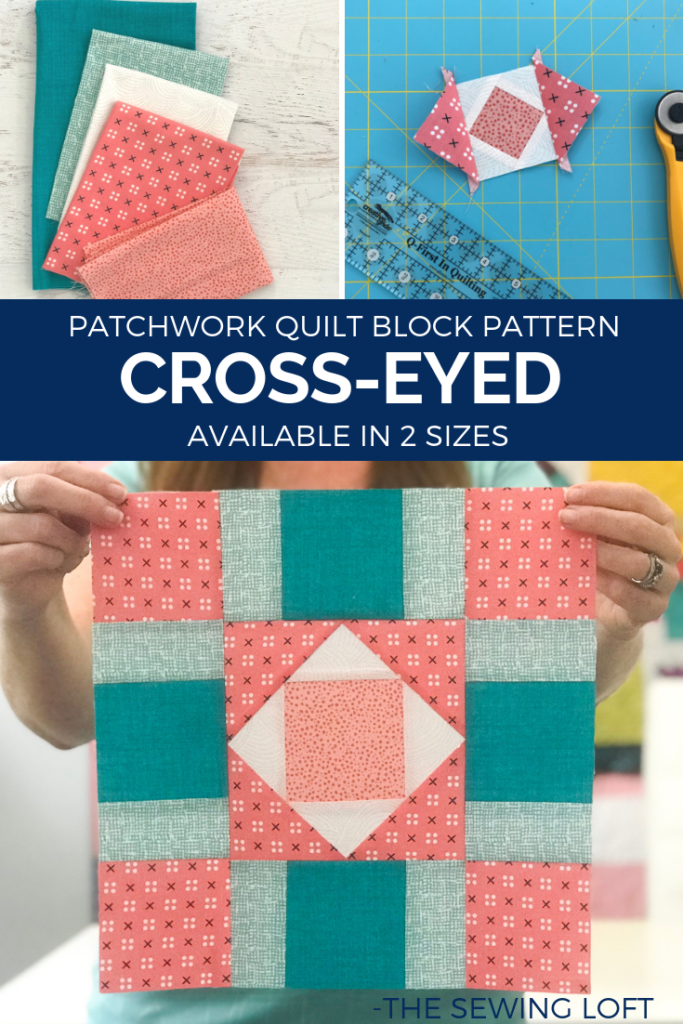 Learn how to make simple quilt blocks like theCross-Eyed Quilt Block. Each block is designed to use your leftover fabric scraps. Great for all skill levels.