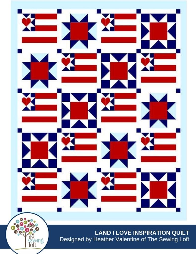 This scrappy flag quilt block is a great way to use your scraps for some patriotic flair. Land I Love Flag block quilt inspiration. Pattern includes 2 sizes. Block designed by The Sewing Loft