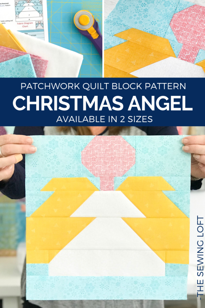 Celebrate the holidays with this Christmas Angel Quilt Block. This simple patchwork design is perfect for all skill levels and comes in 2 sizes.