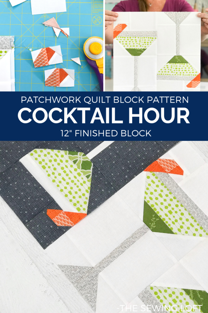 Cocktail Glass Quilt Block | The Sewing Loft