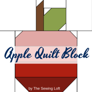 The Apple Quilt block is one of many patterns included in the Blocks 2 Quilt series. Throughout, you can learn the basics of patchwork quilting while creating whimsical quilt blocks.