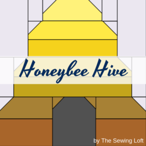 The patchwork construction of the Honeybee Hive quilt block makes it perfect for the beginner quilter and fun for the experienced quilter to play with their scraps.