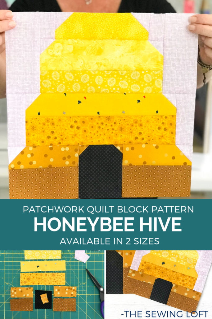 Honeybee Hive quilt block pattern is a simple patchwork construction and available in two sizes. The Sewing Loft