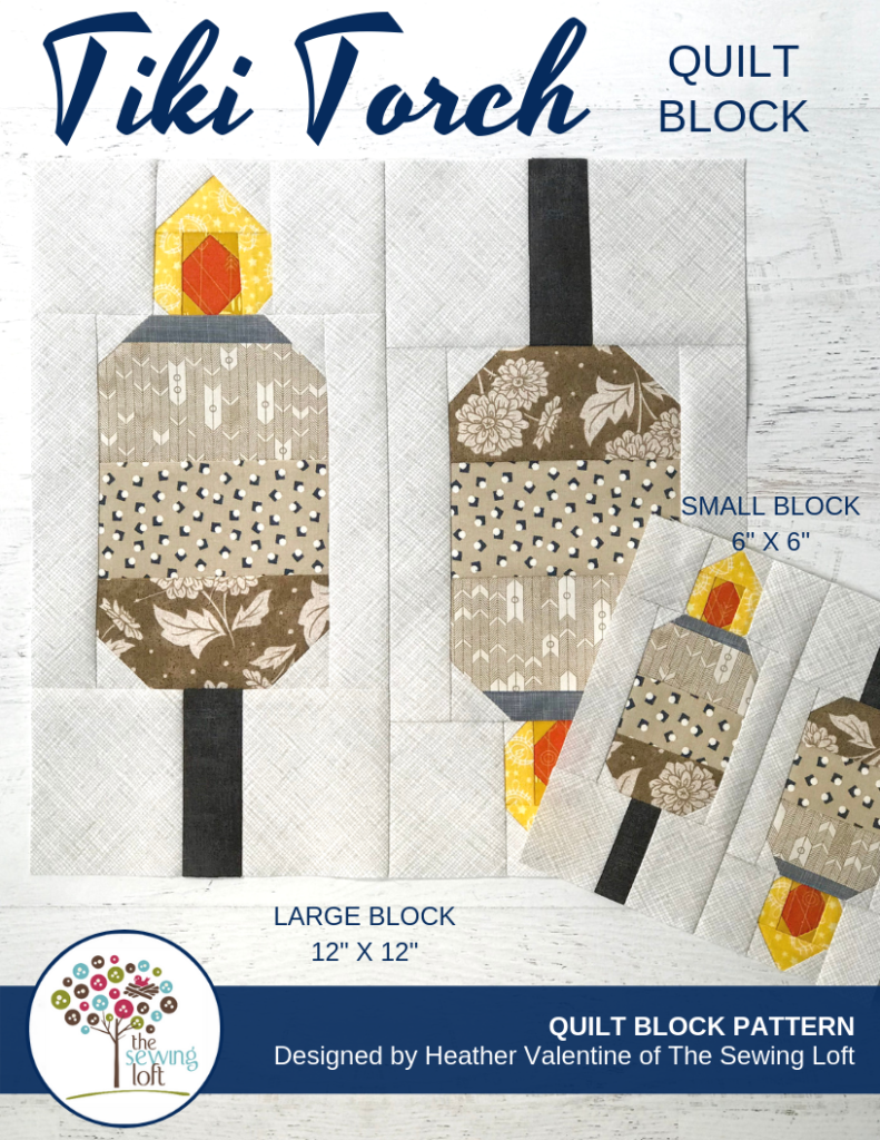 The Tiki Torch quilt block pattern is a simple patchwork construction, available in 2 sizes and perfect to grow your skills.