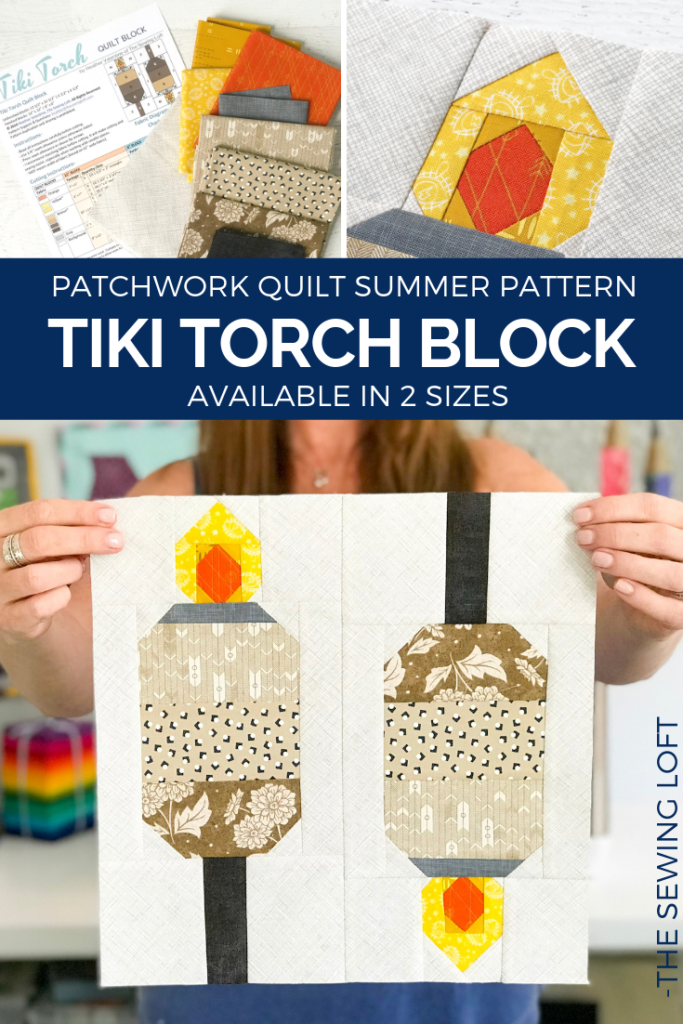 "Grow your quilting skills with this fun Tiki Torch quilt block. The easy to make, patchwork construction block finishes 12"" square & 6"" square."