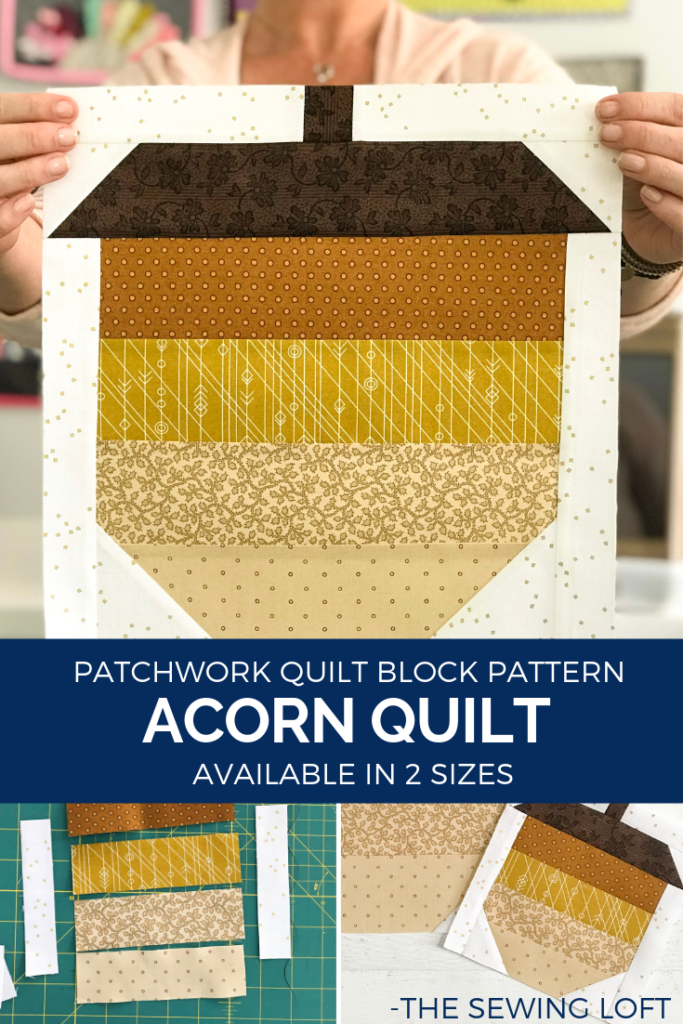 The simple patchwork construction of the Acorn quilt block makes it perfect for the beginner quilter and fun for the experienced quilter to play with their scraps.