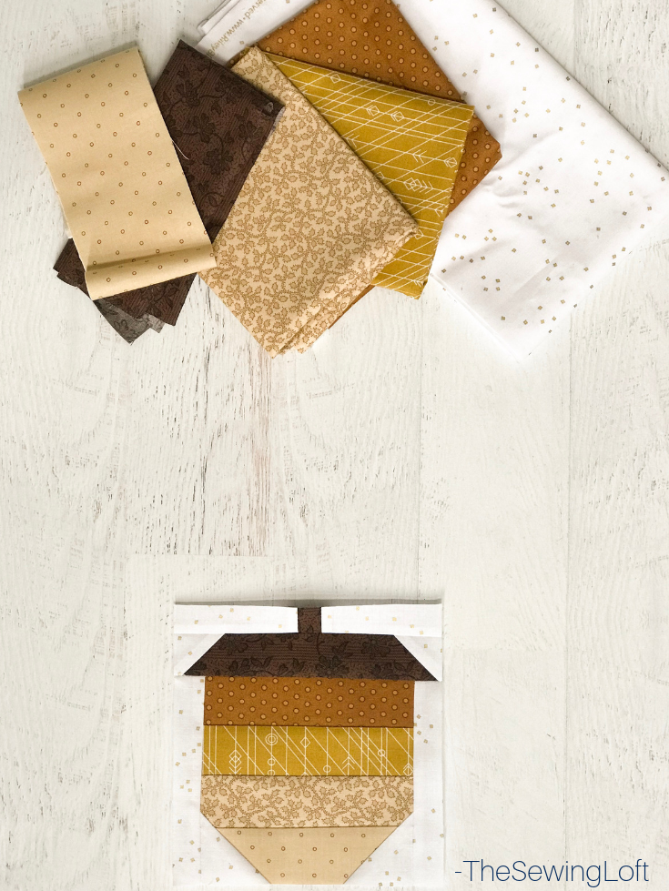 The patchwork construction of the Acorn quilt block makes it perfect for the beginner quilter and fun for the experienced quilter to play with their scraps.