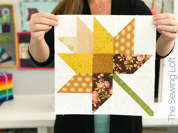 The patchwork construction of the Fall Leaves quilt block makes it perfect for the beginner quilter and fun for the experienced quilter to play with their scraps.