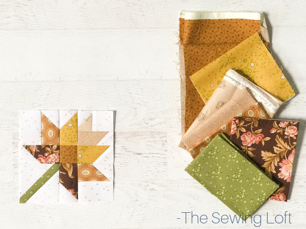 Fall Leaves Quilt block available in 2 sizes by The Sewing Loft