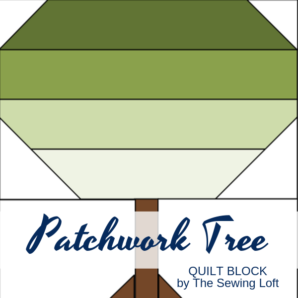 Patchwork Tree Quilt block available in 2 sizes by The Sewing Loft