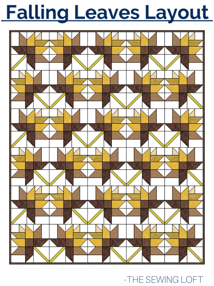The patchwork construction of the Falling Leaves quilt pattern makes it perfect for the beginner quilter and fun for the experienced quilter to play with their scraps.
