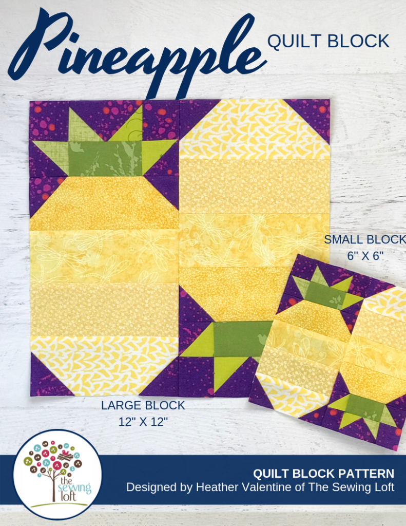 Patchwork Pineapple Quilt block available in 2 sizes by The Sewing Loft