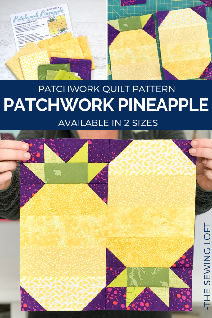 The simple construction of the Patchwork Pineapple quilt block makes it perfect for quilters to play with their scraps and sharpen their skills.