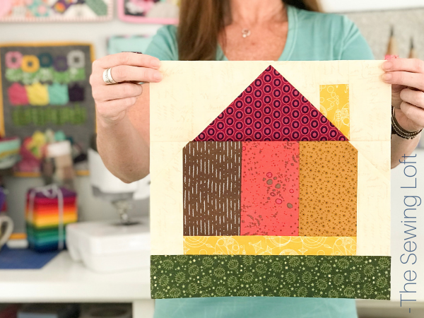The Tiny House quilt block highlights strip piecing, flying geese and nesting seams. Video Included