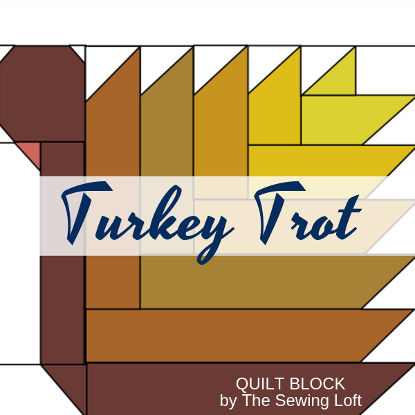 Turkey Trot Quilt block available in 2 sizes by The Sewing Loft