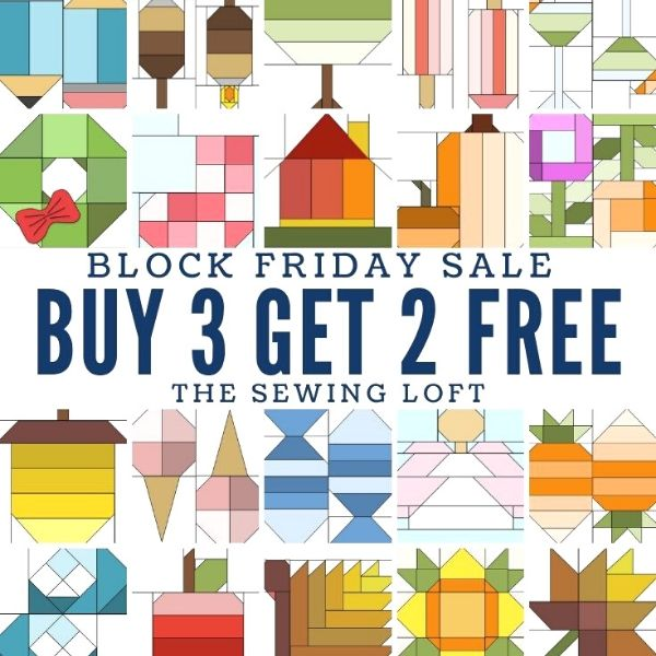 Fill your quilt block library with these adorable blocks. The best part is you and snag them on sale at The Sewing Loft.