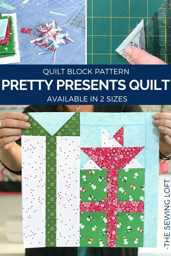 Add some festive cheer to your quilts with this easy to make, scrap friendly Pretty Presents Quilt Block Pattern available in 2 sizes.