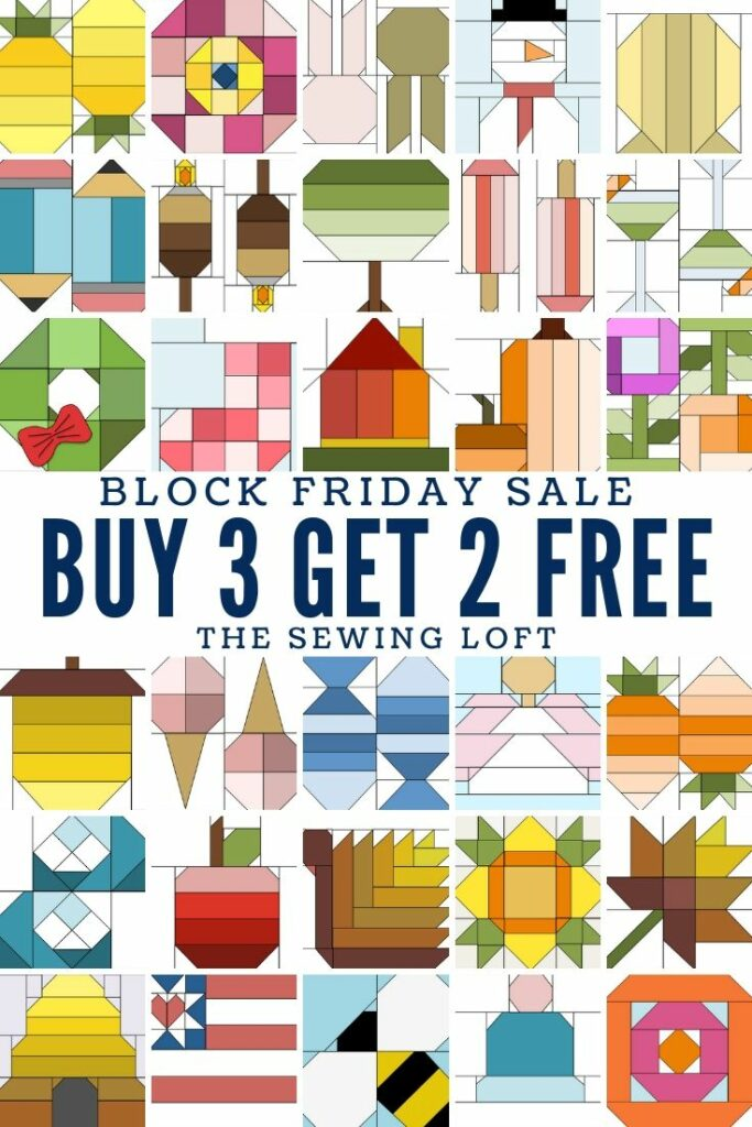 If you missed out on any of the Blocks 2 Quilt designs now is the time to snap them up on special. The Sewing Loft is having a Block Friday Holiday Sale. Buy 3 & Get 2 FREE- no coupon needed.