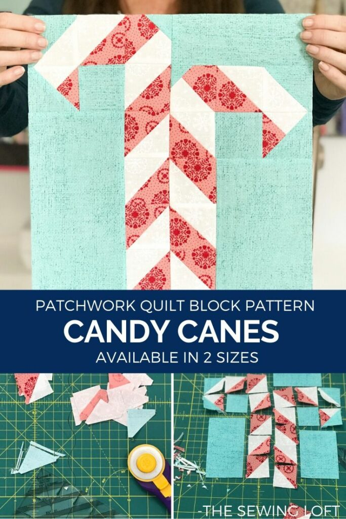 Are you ready to start stitching for the holidays? It's easy to make, scrap friendly Candy Canes Quilt Block Pattern is available in 2 sizes from The Sewing Loft