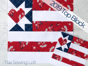 This scrappy friendly quilt block is a great way to use your scraps for some patriotic flair. Land I Love Flag Quilt Block. Pattern includes 2 sizes. Quilt Block designed by The Sewing Loft