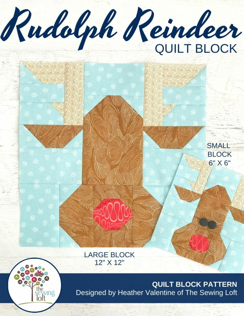Rudolph Reindeer Quilt Block Pattern | The Sewing Loft