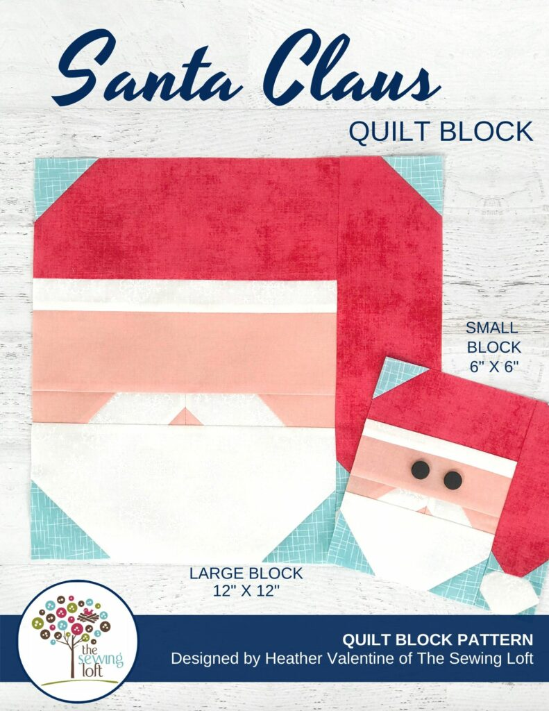 Santa Claus Quilt Block Pattern Cover | The Sewing Loft