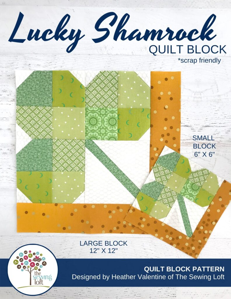 Stretch your quilting and sewing skills with this Shamrock Quilt block pattern. The design is easy to make and perfect for scraps. Available in 2 sizes.